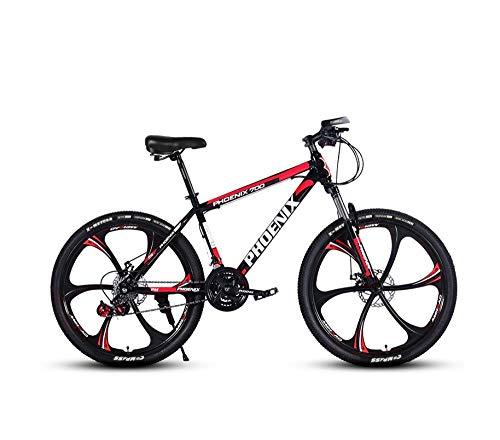 DGAGD Bicicleta de montaña de 24 Pulgadas Bicicleta de Velocidad Variable Bicicleta Adulta Ligera Tipo A de Seis Ruedas-Rojo Negro_24 velocidades