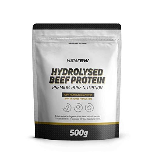 Proteína Hidrolizada de Carne Bovina de HSN | Beef Protein | Con HydroBEEF | Sin Gluten, Sin Lactosa, Sin Soja, Sin Edulcorante, Sin Sabor, En Polvo, 500 g