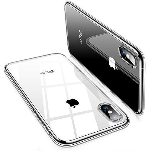 TORRAS Crystal Clear Kompatibel mit iPhone XS Hülle [Nur Design für iPhone XS] Transparent [Anti-Gelb] Handyhülle iPhone XS Silikon Soft Bumper iPhone XS Hülle Transparent Hülle für iPhone XS - Klar