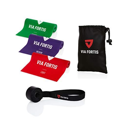VIA FORTIS Fitnessbänder Set inkl. Türanker und Tasche - 3 Fitnessbänder in verschiedenen Stärken für Yoga, Muskelaufbau, Gymnastik, Reha UVM.
