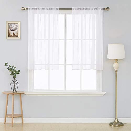 Deconovo White Voile Sheer Curtains 45 Inch Length-Rod Pocket Voile Drape Curtains for Living Room 54W x 45L Inch 2 Panels