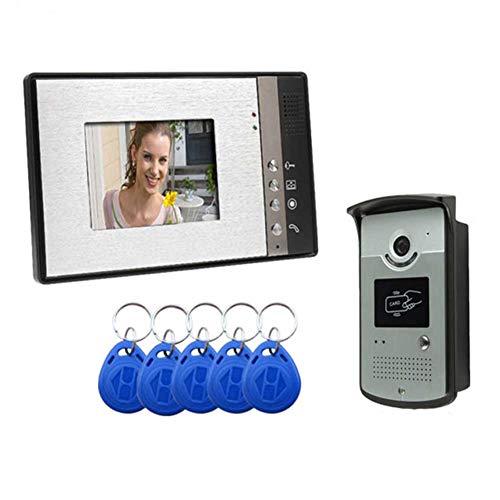 DBM-TOR Video Door Phone Timbre Intercomunicador de Video Bell de la Puerta del Monitor con Cable de 7' Sistema de Seguridad para el hogar con la visión Nocturna y la cámara HD de botón HD