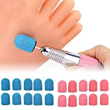 10 mm x 15 mm, bande abrasive tappi, mandrini elettrici, per manicure e pedicure (1 mandrino+10 tappi per levigatura, rosa)