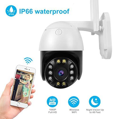Überwachungskamera Aussen WLAN Kamera Outdoor PTZ IP Dome Kamera 1080P Zwei Wege Audio IR-Nachtsich, IP66 wasserfest, Bewegungserkennung