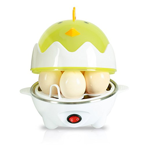 Rapid Egg Cooker Electric,Egg Poacher and Steamer with automatic shut off function,7 Eggs Capacity.Healthy and Yummy.Yellow.