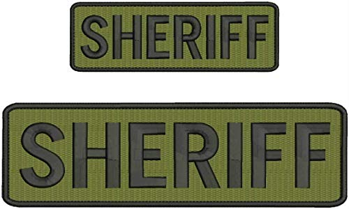 KCHEX 'Sheriff' Embroidery Patch 3X8 and 2X6 INCHES Hook OD Green