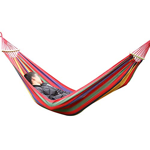 Outdoor Camping Hammock | Single Double Hammock | Portable Canvas Hammock | Load Capacity up to 330 Pounds | Suitable for Dormitory, Seaside, Forest, Park, (color : Red, Size : 200x150cm)