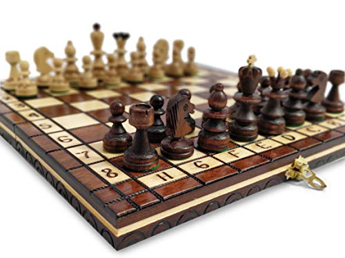 KHAPLO ® – Juego de ajedrez de madera de lujo – Capaz plegable – Hecho a mano – 31 x 31 cm – Bandeja de viaje – Modelo Roma – Marrón – Chess Board – Juego de mesa – Juego de mesa – Juego de ajedrez