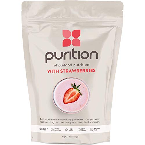Purition Low Carb Strawberry Natural Gluten Free Protein Powder for Keto Diet Shakes and Meal Replacements Shakes with Only Natural Ingredients, 1 Bag (12 Servings)