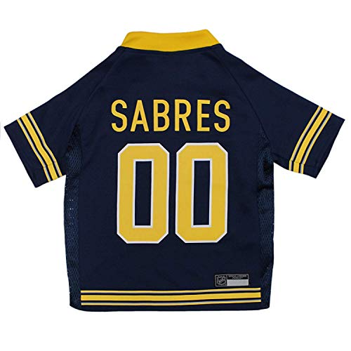 NHL Buffalo Sabres Jersey for Dogs & Cats, Large. - Let Your Pet Be A Real NHL Fan!