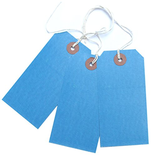 100 Blue Luggage Labels Gift Strung Tags Cotton String Reinforced