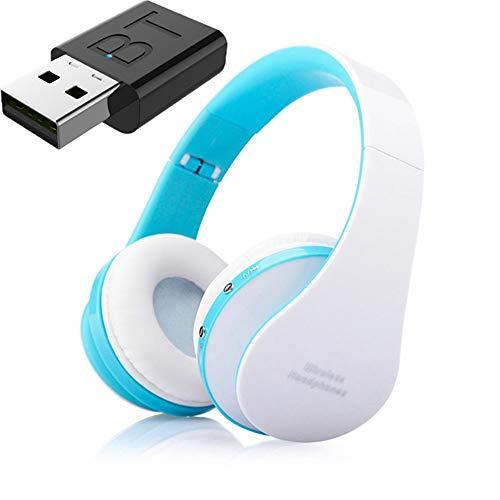 Auricular Bluetooth TV, Auriculares Hi-Fi Bluetooth, Bajo Profundo Auricular Inalámbrico De TV, La Barra De Inicio para La TV Teléfono De La Computadora,Azul