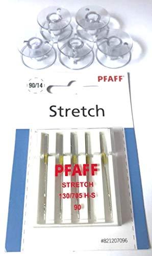 5X Kunststoff Spulen + Original Pfaff Stretch/Jersey Nadeln für Pfaff Nähmaschinen Hobby 1122, 1132, 1142, 1022, 1032, 1042