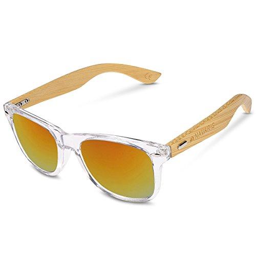 Navaris Gafas de sol UV400 - Gafas de madera para hombre y mujer - Gafas de sol con patillas de madera - Transparente y rojo