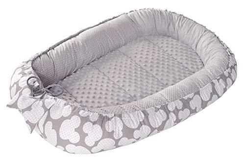 Babynest Kuschelnest Babynestchen 100% Baumwolle Nestchen Reisebett für Babys Säuglinge Medi Partners 90x50x13cm herausnehmbarer Einsatz (Miki mit grauen Minky)