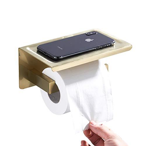 BigBig Home Toilettenpapierhalter mit Ablage aus 304 Edelstahl, Klopapierhalter mit Gebürstet Gold Finished Toilettenpapierrollenhalter Wandmontage für Dusche und Badezimmer