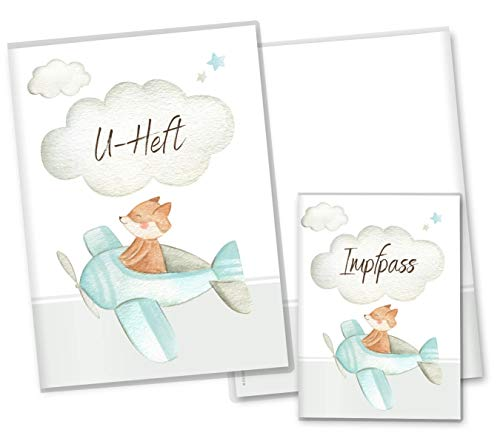 U-boekje hoes set wolken vliegtuig onderzoeksboekje hoes & vaccinatiepaspoorthoes zwangerschapsgeschenkidee personaliseerbaar met naam U-Heft Set Fuchs vliegtuig