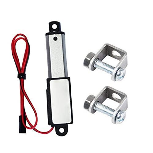 Voltaje de actuador micro lineal 12V DC, mini impermeable eléctrico con soportes de montaje 12V 60N Longitud de trazo 50 mm Velocidad 15mm para gama inteligente Campana, hojas de ventilador, gabinetes
