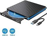Masterizzatore CD DVD Esterno- Apiker Unità CD/Dvd Esterna USB 3.0 e Type-C...
