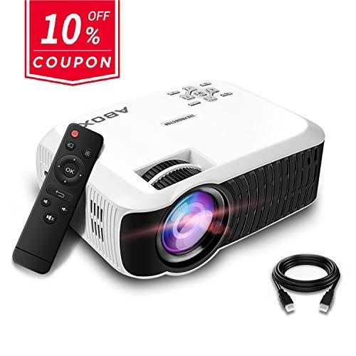 Beamer, ABOX T22 Tragbarer LED Projektor Unterstützt 1080p HDMI USB SD Karte VGA AV für Fire TV Stick Laptop Perfekt für Heimkino TV und Weltmeisterschaft- Weiß