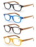4 Pack Reading Glasses 1.75 Fashion Wood-Look Spring Hinges Stylish Readers Men Women