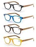 MODFANS Un pack de 4 gafas de lectura 1.5 para Hombres/Mujeres - Lente Clara,Vision Clara,Efecto Madera - Moda,Practicas,Ligeras,Comodas,Colores Negro-Azul-Marron-Amarillo