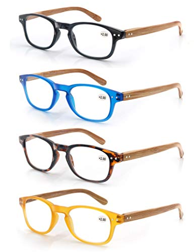 MODFANS Confezione da 4 occhiali da lettura 2.0 per uomo/donna, Cerniera a molla,leggera,effetto legno, lente trasparente con custodia,nero-blu-marrone-giallo