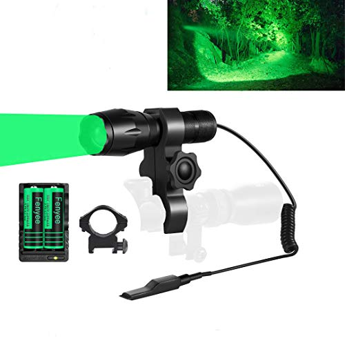 Fenyee Green Light Flashlight 350 Yards Spotlight Zoomable Tactical Hunting Flashlight Torch for Hog Pig Coyote Varmint