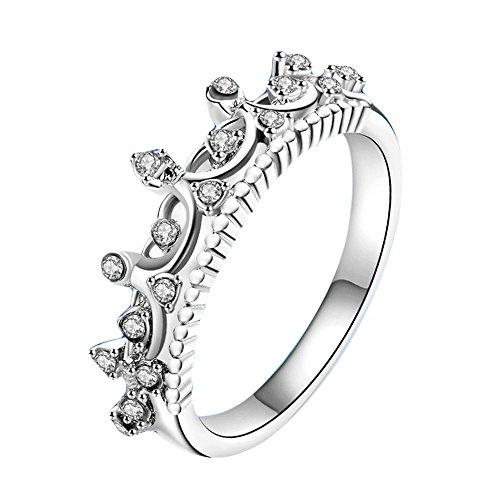 LABIUO Damen Ring Ehering, Neue Krone Dame Kristall Ring mit Zirkonia Verlobungsring Geschenk für Frau Freundin(Splitter,7)
