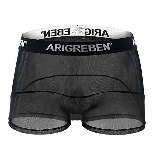 Anliyou Herren Boxershorts ARIGREBEN Durchscheinend transparent Männerunterwäsche Retroshorts Höschen Männerunterhosen schnell trocknende Underwear Schwarz Weiß