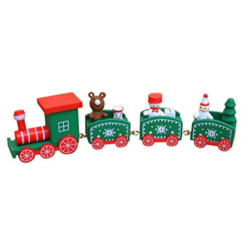 WELLXUNK Holz Kleiner Zug,4 Stück Spielzeugeisenbahn,Weihnachtszug Neujahr Deko,für Kinder Mädchen Junge Spielzeug Geschenke Tassenhalter der WeihnachtsZug(Grün)