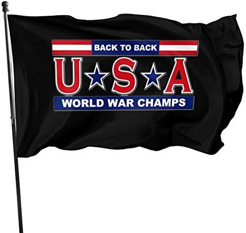 Eriesy Jardín Banderas,Bandera USA - Back to Back World War Champ Flag 3' X 5' Ft Outdoor Flags Banner Breeze Flag