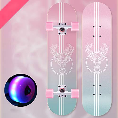 SHIJING Skateboard Boards Maple Deck, Mini Wooden Cruiser Graphic Longboard, for Beginners Kids Boys Girls Adults Youth-Standard Skateboards