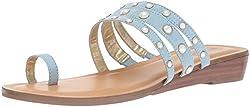 Blue Napoli Tori Slide Flat Sandal