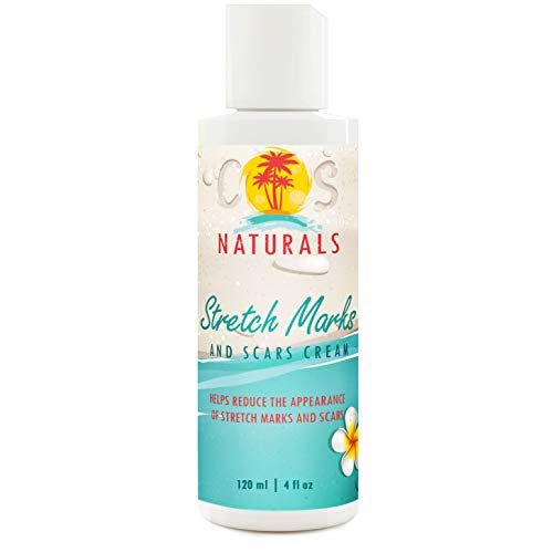 COS Naturals Stretch Mark and Scar Cream Natural Body Moisturizer Lotion with Peptides Vitamin C Hyaluronic Acid (4 oz / 120 ml)