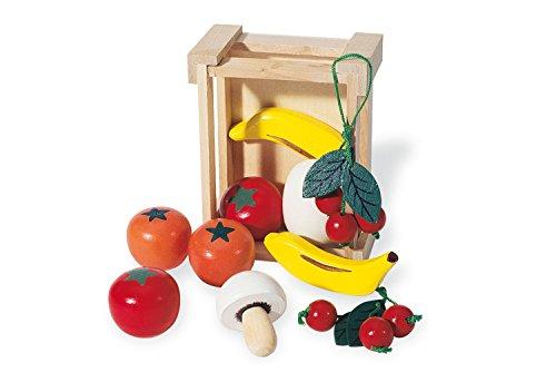 Pinolino Kiste mit Obst, aus massivem Holz, viele verschiedene Obst- und Gemüsesorten enthalten, für Kinder ab 3 Jahren