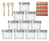 Supremery Vasos de yogur Diamant 10 x vasos con tapa, vasos para entrantes y postres, ideal para presentar y presentar alimentos, Thermomix TM6 TM5, vasos de yogur, 100 ml, con 3 cucharas