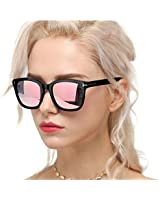 Myiaur Classic Sunglasses for Women Polarized Driving Anti Glare 100% UV Protection (Black Frame/Pink Mirrored Glasses)