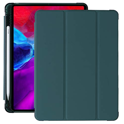 Suitable for ipad 10.9 Protective Cover Screen Protector with Pen Slot Sleeping Leather case PU airbag Soft Shell Sleeping Wake up Tri-fold,Green