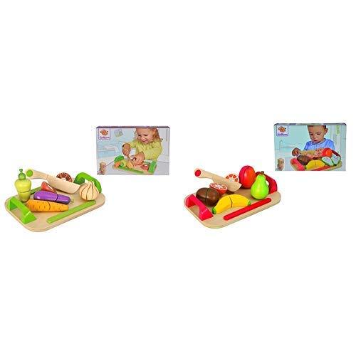 Eichhorn 100003722 – Schneidebrett mit Gemüse, 26 x 16,5 cm, 12-tlg., Schneidegemüse aus Holz & 100003721…