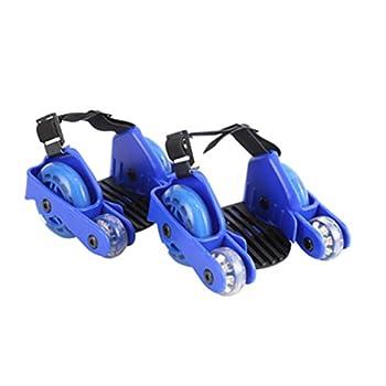 GFYWZZ Heel Wheel Roller Skates Easy-on Roller Skates Shoes for Children Attachable Shoe Trainer Wheels with LED Lights Adjustable Size 23-39cm for Kid Boys Girls,Blue1,B