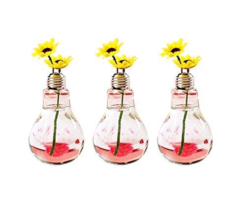 Laat Retro botellas de cristal decorativo bombilla jarrón pequeño decoración de boda (3pcs)