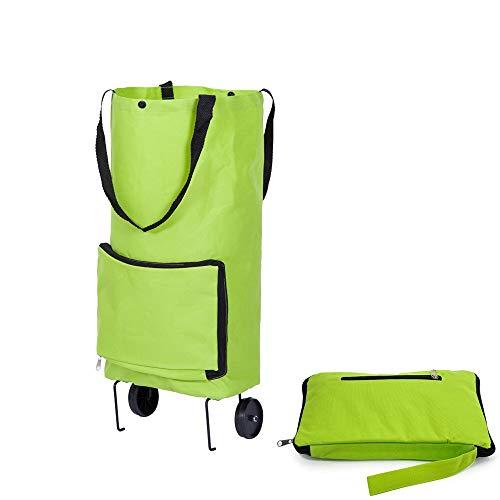 Bolsa de compras plegable con ruedas, carro de la compra plegable plegable plegable bolsa de compras bolsas de compras de viaje mano en la mano