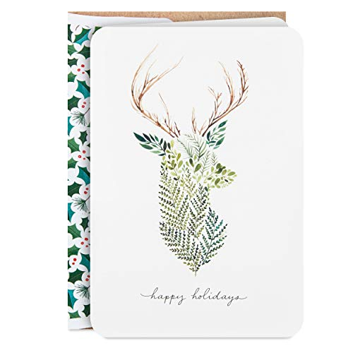 Hallmark Boxed Holiday Cards, Greenery Deer (16 Cards and 17 Envelopes)