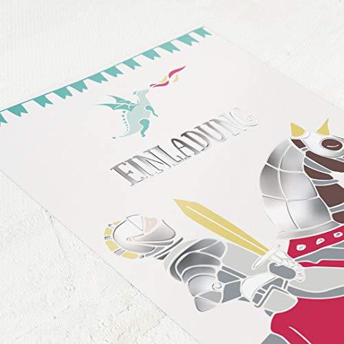 Einladungskarten Kindergeburtstag, Ritter & Drachen, 5er Karten-Set, für Jungen, mit vorgefertigtem Lückentext zum kinderleichten Ausfüllen, mit Silberfolienveredelung, Karten optional mit Umschlag