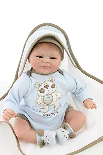 DFJU 18inch lebensechte süße sammelbare weiche Körper Neugeborenen Puppe blau Coucou Silikon Vinyl wiedergeboren Baby Boy Boy Puppen für Kinder