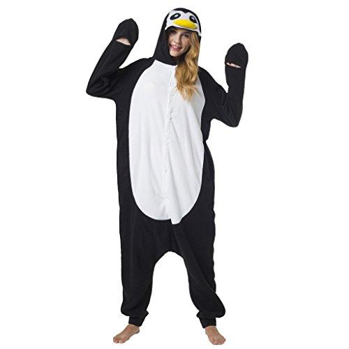 Katara 1744 - Pinguin Kostüm-Anzug Onesie/Jumpsuit Einteiler Body für Erwachsene Damen Herren als Pyjama oder Schlafanzug Unisex - viele Verschiedene Tiere