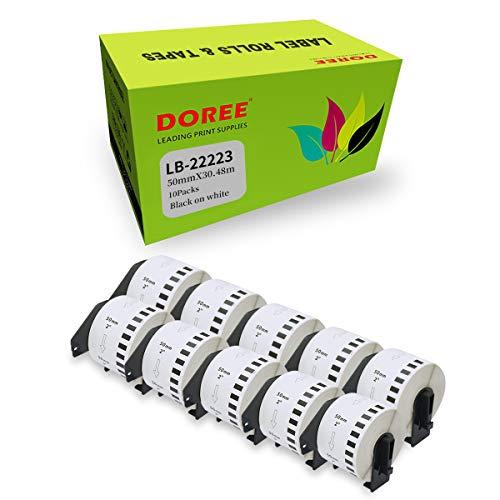 DOREE 10 rollos de etiquetas de dirección compatibles con Brother DK-22223, color blanco, 50 x 30,48 mm, para Brother P-Touch QL-500 QL-550 QL-570 QL-700 QL-800