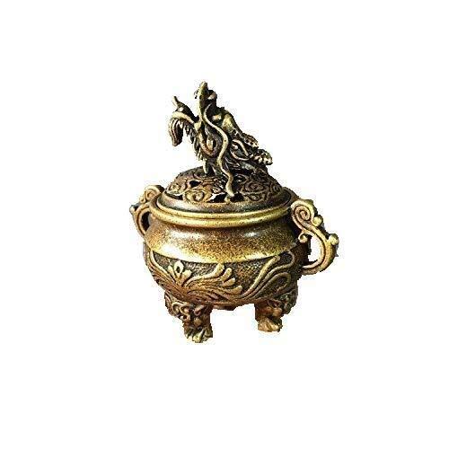 ketting Verzamelbare Chinese messing gesneden dier draak patroon drie voet wierook brander Censer prachtige kleine standbeelden