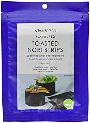 Delicious, tangy, instant seaweed snack Tasty flavoured toasted nori strips are ideal for sushi or as a snack Dried, toasted and coated with top quality seasonings Deliciously rich taste combining savoury, sweet, salty and spicy tones Eat straight fr...